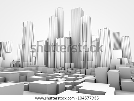 render of a white big city