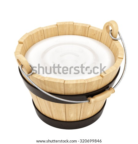 render of a wooden milk bucket, isolated on white