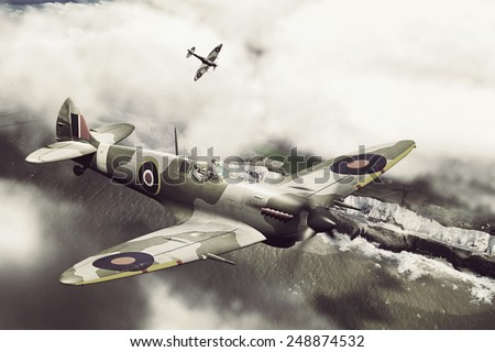Render of a ww2 Supermarine Spitfire 3D model in flight