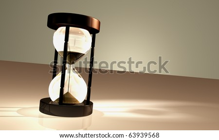Render of an alone sandglass