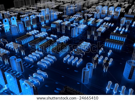 Render of an electronic circuit glowing in the dark - stock photo