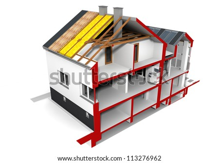 Render of an insulated family house - stock photo