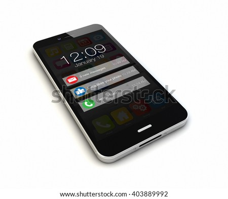 render of an original isolated on white background smartphone with notifications on the screen. Screen graphics are made up. 3d Illustration.