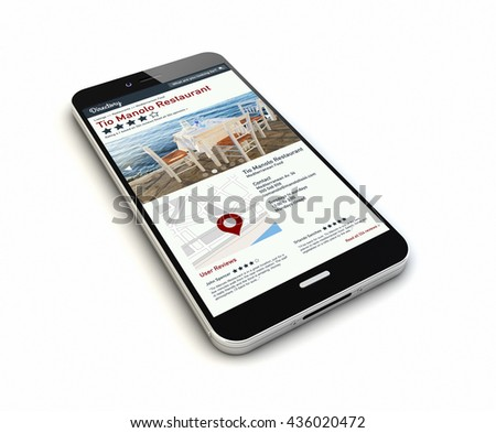 render of an original smartphone with online directory on the screen. Screen graphics are made up. 3d rendering. - stock photo