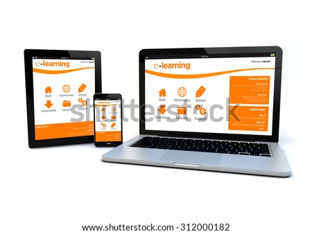 render of an smartphone, a tablet pc and a computer with a responsive design e-learning platform on the screen - stock photo