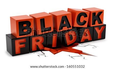 render of Black Friday crushing ground, isolated on white  - stock photo