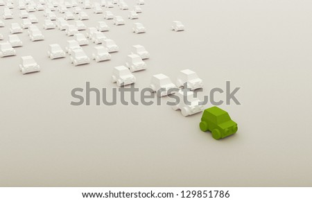 Render of bunch of toy cars racing - stock photo