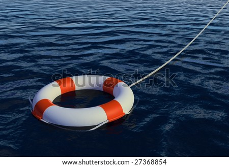 Render of Buoy Ring floating in water - stock photo