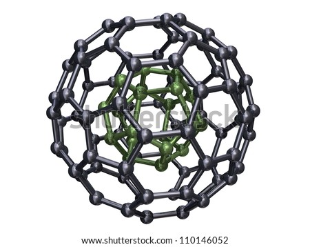 Render of C20 Fullerene caged in a C80 Fullerene Isolated on a White Background