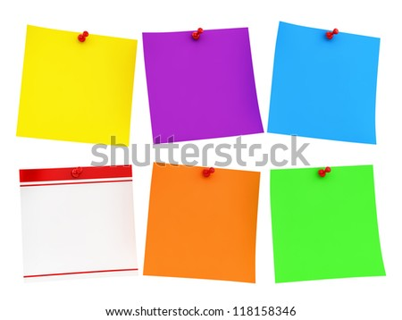 render of colorful notes, isolated on white - stock photo