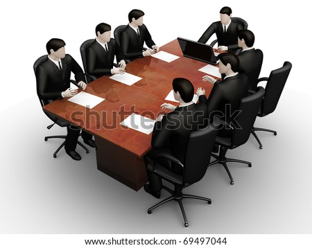Render of command of businessmen with laptops behind a round table