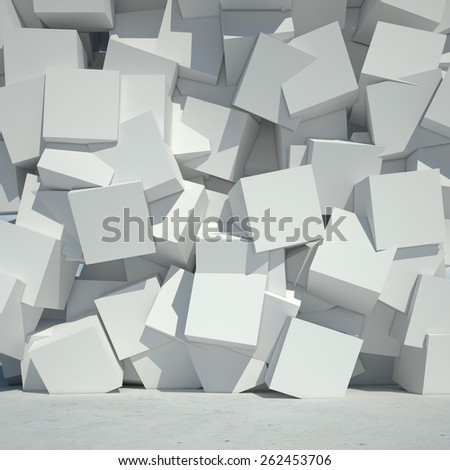 Render of cubes concrete wall. 3d background. - stock photo