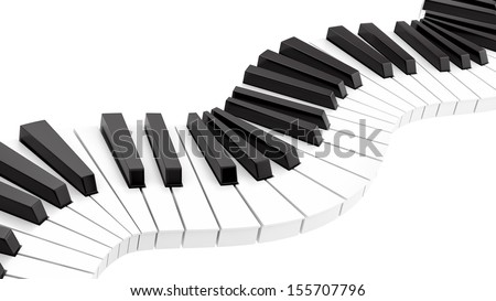 render of curvy piano keyboard, isolated on white - stock photo