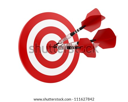 render of 3 darts in a target, isolated on white