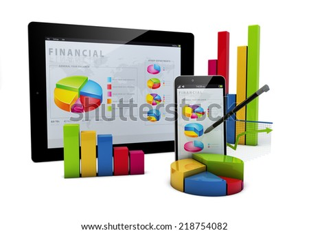 render of devices with financial graphics - stock photo