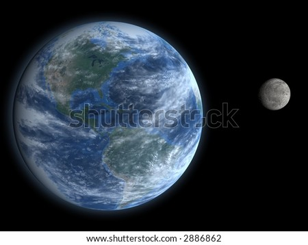 Render of Earth and our Moon