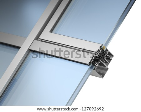 render of facade glazing system on white background - stock photo