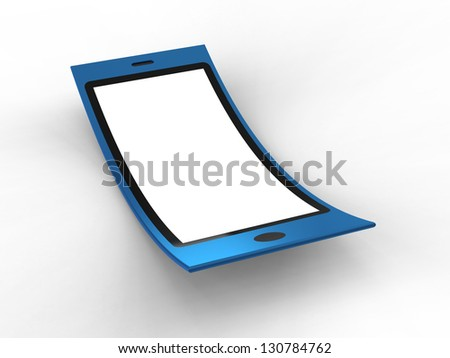 Render of flexible mobile on a white background - stock photo