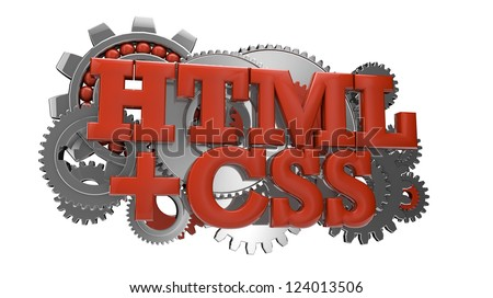 render of gears and the text html and css - stock photo