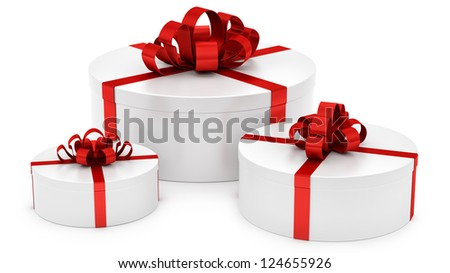render of gift boxes, isolated on white