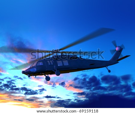 Render of helicopter flying on clouds sky - stock photo