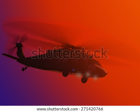 Render of helicopter UH-60 flying sunset - stock photo