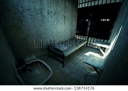 Render of locked old prison cell for one person with bed, sink, toilet and chair. Dark atmosphere. - stock photo