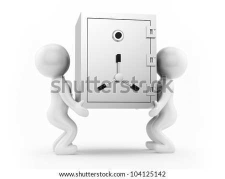 render of 2 man carrying a safe