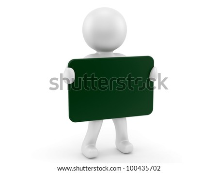 render of man with a green blank sign - stock photo