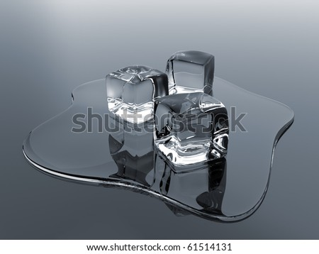 Render of molten ice cubes over a reflective surface - stock photo