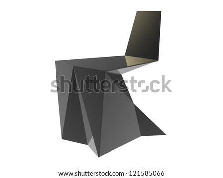render of Origami concept chair isolated on a white background - stock photo