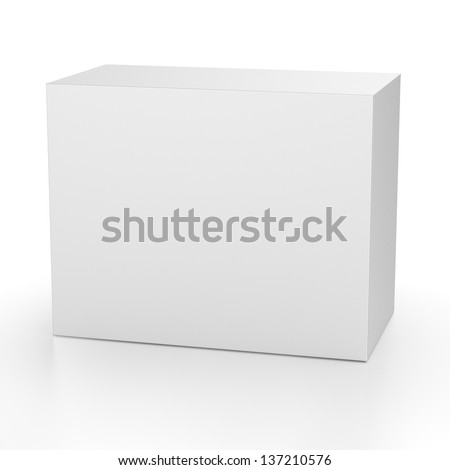 render of paper box on white - stock photo
