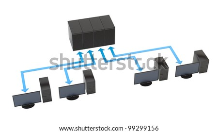 render of PCs connected to servers - stock photo