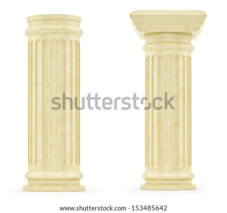 render of pillars, isolated on white