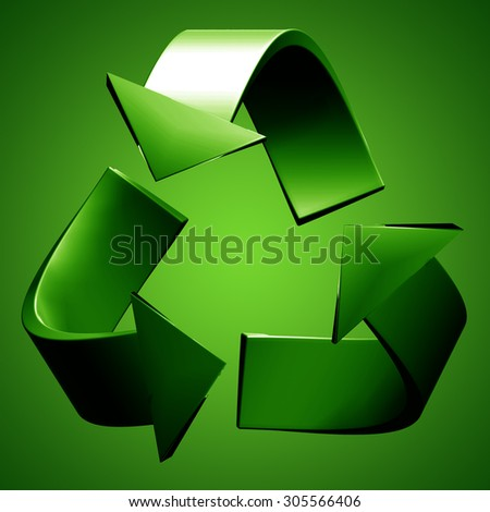 Render of Recycling Symbol - stock photo