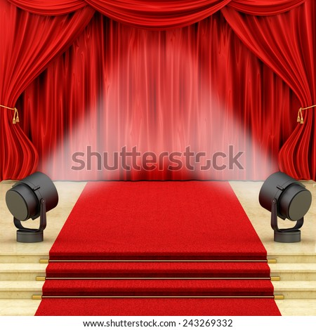 render of red curtains with stage lights  - stock photo
