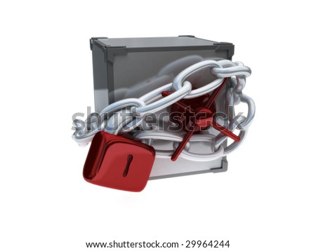 render of safe wrapped in chains with padlock - stock photo