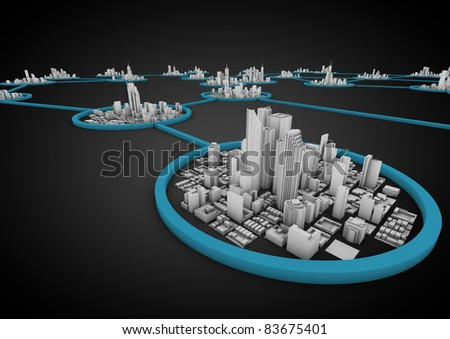 render of several connected cities in a network - stock photo