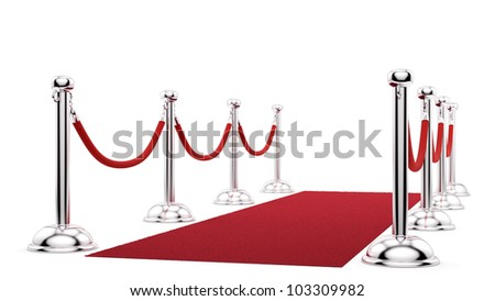 render of silver stanchions and a red carpet - stock photo
