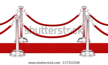render of silver stanchions and a red carpet