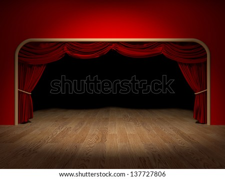 Render of the curtains of a theater - stock photo