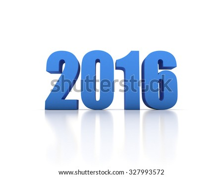 Render of the New Year 2016 - stock photo