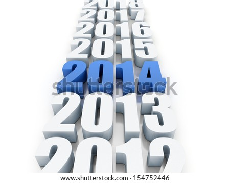 Render of the new year 2014 and other years - stock photo