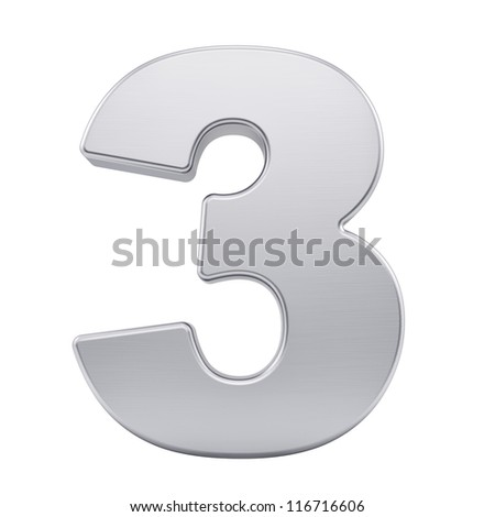 render of the number 3 with brushed metal texture, isolated on white - stock photo