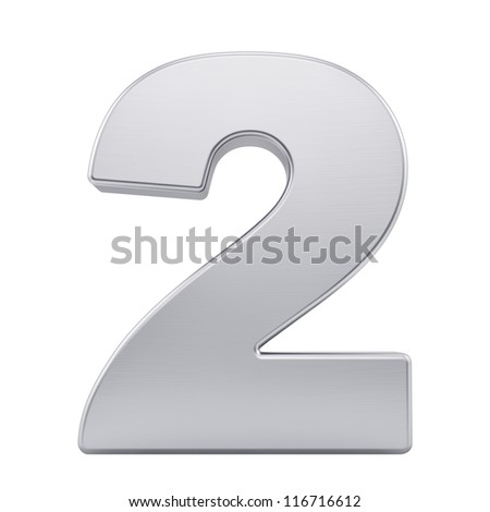 render of the number 2 with brushed metal texture, isolated on white - stock photo