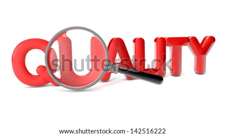 render of the text quality and a magnifying glass - stock photo