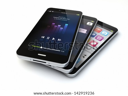 render of three smartphones with different apps on the screen - stock photo