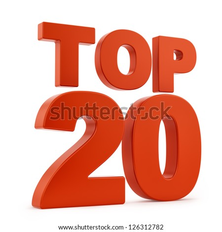 Render of Top 20, isolated on white - stock photo