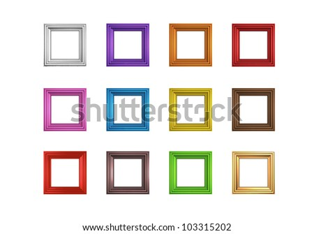 Render of twelve different colored frames - stock photo