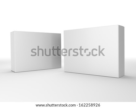 render of two paper boxes composition - stock photo